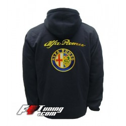 Hoodie ALFA ROMEO sweat à capuche zippé en cotton molletonné