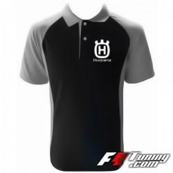 Polo HUSQVARNA de couleur noir et gris