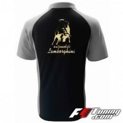 Polo LAMBORGHINI de couleur noir et gris