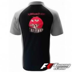 Polo NASCAR Kyle Busch de couleur noir et gris