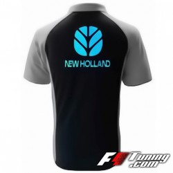 Polo NEW HOLLAND de couleur noir et gris