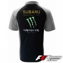 Polo SUBARU Monster Energy de couleur noir et gris