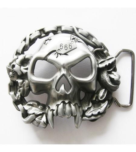 Boucle de ceinture Tête de Mort avec Chaine de Moto