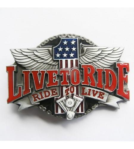 Boucle de ceinture Live ro Ride USA fond en couleur