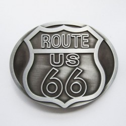Boucle de ceinture Route 66 USA couleur argent brossé