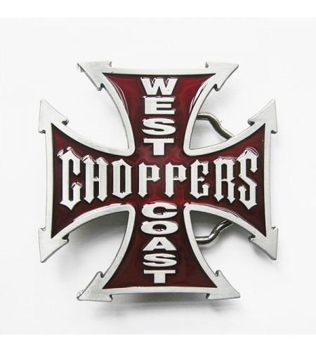 Boucle de ceinture biker West Coast Choppers de couleur rouge