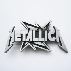 Boucle de ceinture Metallica Hard Rock sur fond argent