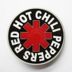 Boucle de ceinture Red Hot Chili Pepers fond noir couleurs rouge et blanc