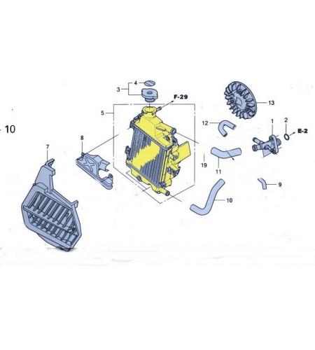 Radiateur d'eau pour le scooter Honda PCX 125 Pièce moto d'origine Honda.