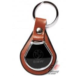 Porte-clés MERCEDES sur écusson de cuir marron